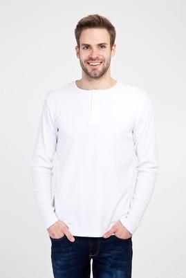 Erkek Giyim - BEYAZ XL Beden Bisiklet Yaka Düğmeli Slim Fit Sweatshirt