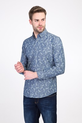Erkek Giyim - AÇIK LACİVERT L Beden Uzun Kol Desenli Slim Fit Gömlek