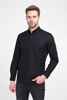 Erkek Giyim - SİYAH XXL Beden Uzun Kol Desenli Slim Fit Gömlek