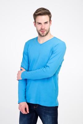 Erkek Giyim - MAVİ M Beden V Yaka Slim Fit Sweatshirt
