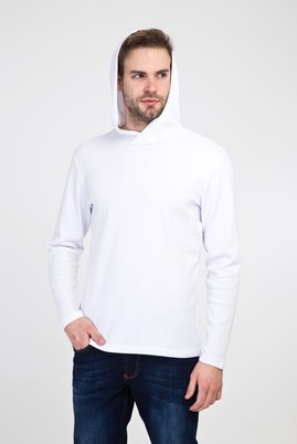 Erkek Giyim - BEYAZ XL Beden Kapüşonlu Slim Fit Sweatshirt