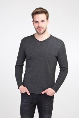 Erkek Giyim - ANTRASİT XXL Beden V Yaka Slim Fit Sweatshirt