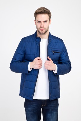 Erkek Giyim - GÖK MAVİSİ L Beden Slim Fit Kapitone Mont