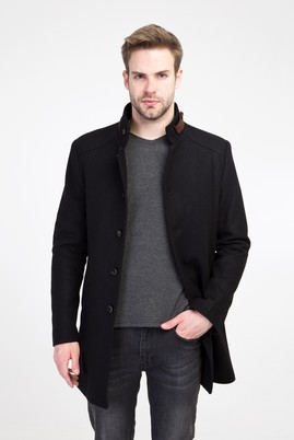 Erkek Giyim - SİYAH M Beden Yünlü Kaban