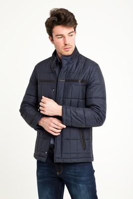 Erkek Giyim - ORTA LACİVERT L Beden Slim Fit Kapitone Mont