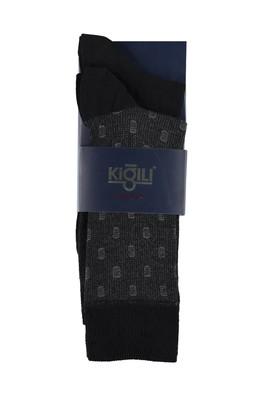 Erkek Giyim - SİYAH 39 Beden 2'li Desenli Çorap