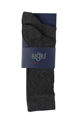 Erkek Giyim - ANTRASİT 42 Beden 2'li Desenli Çorap