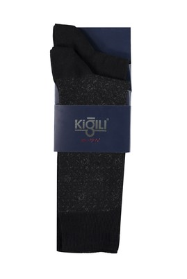 Erkek Giyim - SİYAH 42 Beden 2'li Desenli Çorap