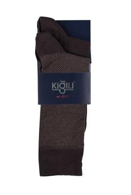 Erkek Giyim - KAHVE 42 Beden 2'li Desenli Çorap