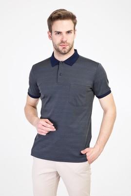 Erkek Giyim - KOYU ANTRASİT L Beden Polo Yaka Regular Fit Merserize Tişört