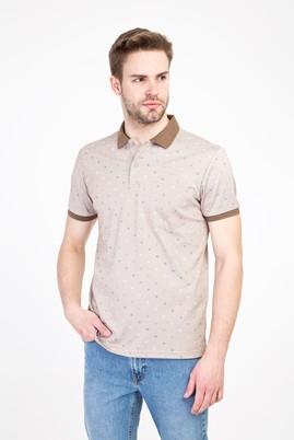 Erkek Giyim - ORTA BEJ 3X Beden Polo Yaka Regular Fit Merserize Tişört