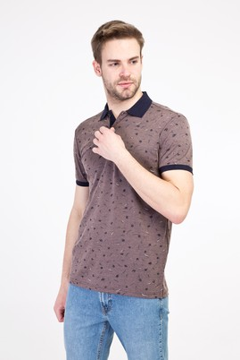 Erkek Giyim - ORTA KAHVE XL Beden Polo Yaka Regular Fit Merserize Tişört