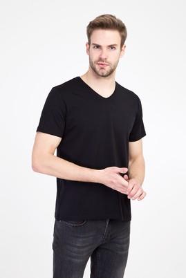Erkek Giyim - SİYAH L Beden V Yaka Regular Fit Tişört