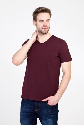 Erkek Giyim - KOYU BORDO L Beden V Yaka Regular Fit Tişört