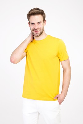 Erkek Giyim - KOYU SARI S Beden Bisiklet Yaka Regular Fit Tişört