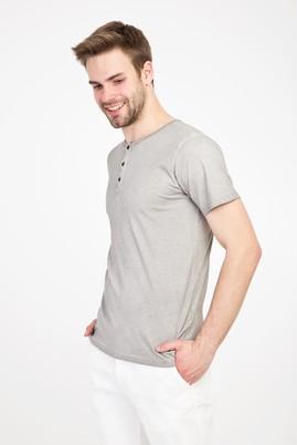 Erkek Giyim - ORTA FÜME XL Beden Bisiklet Yaka Düğmeli Slim Fit Tişört