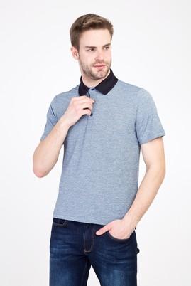 Erkek Giyim - KOYU LACİVERT L Beden Polo Yaka Regular Fit Desenli Tişört