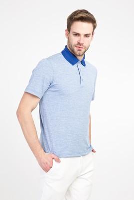 Erkek Giyim - MAVİ L Beden Polo Yaka Regular Fit Desenli Tişört