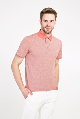 Erkek Giyim - MERCAN KIRMIZI L Beden Polo Yaka Regular Fit Desenli Tişört