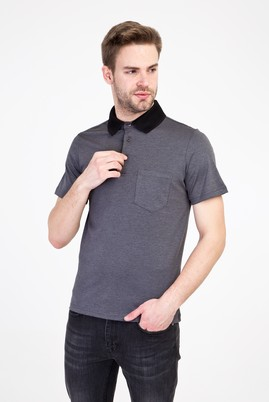 Erkek Giyim - SİYAH L Beden Polo Yaka Regular Fit Tişört