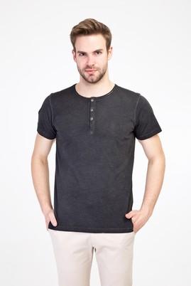 Erkek Giyim - FÜME GRİ L Beden Bisiklet Yaka Düğmeli Slim Fit Tişört