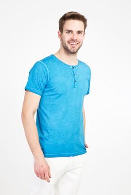 Erkek Giyim - MAVİ 3X Beden Bisiklet Yaka Düğmeli Slim Fit Tişört