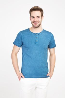 Erkek Giyim - MAVİ M Beden Bisiklet Yaka Düğmeli Slim Fit Tişört