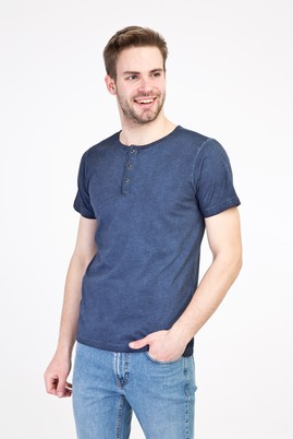 Erkek Giyim - MAVİ XL Beden Bisiklet Yaka Düğmeli Slim Fit Tişört