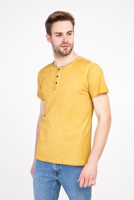 Erkek Giyim - AÇIK KAHVE - CAMEL 3X Beden Bisiklet Yaka Düğmeli Slim Fit Tişört