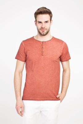 Erkek Giyim - AÇIK KAHVE - CAMEL S Beden Bisiklet Yaka Düğmeli Slim Fit Tişört
