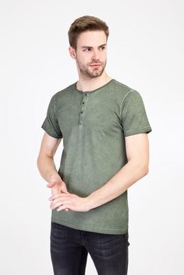 Erkek Giyim - HAKİ 3X Beden Bisiklet Yaka Düğmeli Slim Fit Tişört