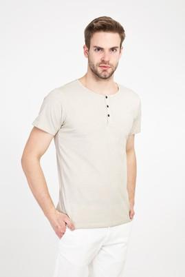 Erkek Giyim - KUM 3X Beden Bisiklet Yaka Düğmeli Slim Fit Tişört