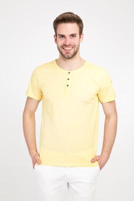 Erkek Giyim - SARI L Beden Bisiklet Yaka Düğmeli Slim Fit Tişört