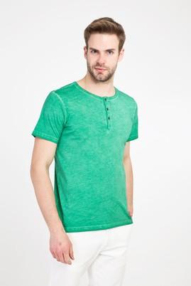 Erkek Giyim - ACIK YESIL 3X Beden Bisiklet Yaka Düğmeli Slim Fit Tişört