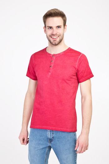 Erkek Giyim - Bisiklet Yaka Düğmeli Slim Fit Tişört