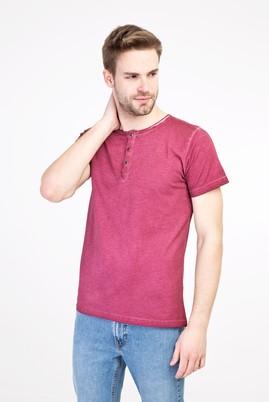 Erkek Giyim - Bordo 3X Beden Bisiklet Yaka Düğmeli Slim Fit Tişört