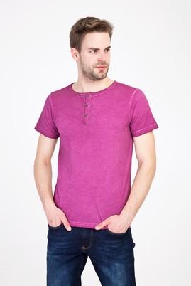 Erkek Giyim - KIRMIZI L Beden Bisiklet Yaka Düğmeli Slim Fit Tişört