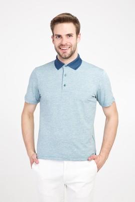 Erkek Giyim - PETROL YEŞİLİ 3X Beden Polo Yaka Regular Fit Desenli Tişört