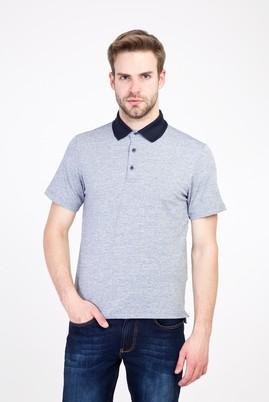 Erkek Giyim - AÇIK LACİVERT M Beden Polo Yaka Regular Fit Desenli Tişört