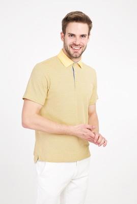Erkek Giyim - LİMON SARI 3X Beden Polo Yaka Regular Fit Desenli Tişört