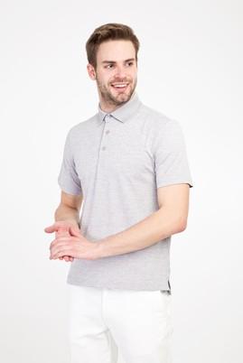 Erkek Giyim - AÇIK GRİ 3X Beden Polo Yaka Regular Fit Desenli Tişört