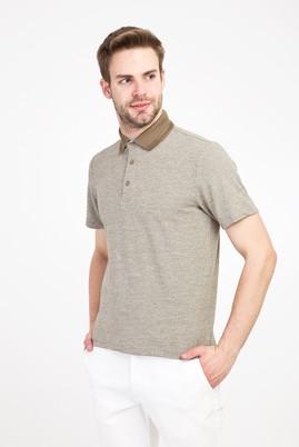 Erkek Giyim - KOYU YEŞİL L Beden Polo Yaka Regular Fit Desenli Tişört