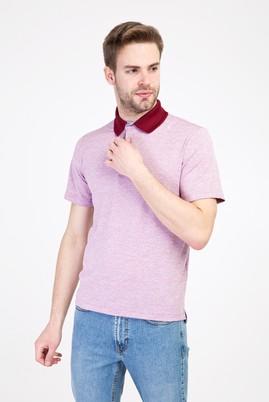 Erkek Giyim - SCARLET KIRMIZISI L Beden Polo Yaka Regular Fit Desenli Tişört
