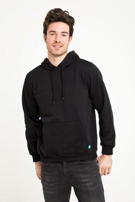 Erkek Giyim - SİYAH L Beden Kapüşonlu Cepli Sweatshirt