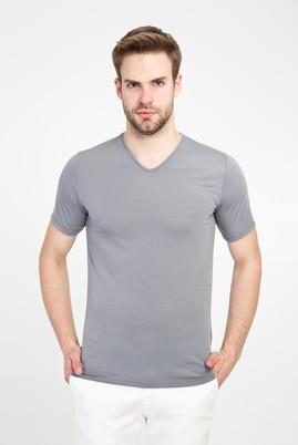 Erkek Giyim - AÇIK GRİ XL Beden V Yaka Slim Fit Tişört