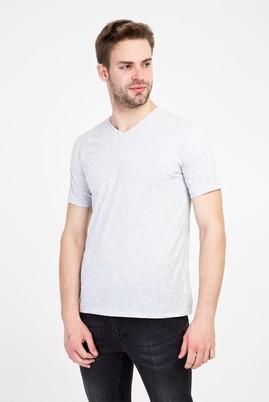 Erkek Giyim - AÇIK GRİ MELANJ XL Beden V Yaka Slim Fit Tişört