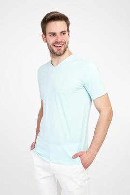 Erkek Giyim - SU MAVİSİ L Beden V Yaka Slim Fit Tişört