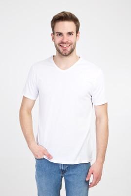 Erkek Giyim - BEYAZ M Beden V Yaka Slim Fit Tişört