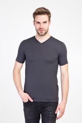 Erkek Giyim - KOYU ANTRASİT L Beden V Yaka Slim Fit Tişört