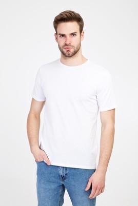 Erkek Giyim - BEYAZ L Beden Bisiklet Yaka Slim Fit Tişört